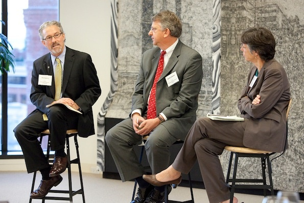 Dean Lyons with Stanford GSB Dean Garth Saloner and The Aspen Institute's Judy Samuelson.
