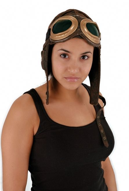 Ultra Suede Aviator Costume Hat - This hat is a classic. If it's for Halloween, or just for fun, this ultra suede aviator hat with ear flaps is sure to please.Made out of a distressed ultra suede, this hat features ear flaps, and a chin strap with brass buckles. There isn't an actual brim to this hat because it snaps up to the top of the hat. The inside of the hat is fabric lined and features a secret pouch with a fortune just for you. #yyc #aviator #helmet #costume