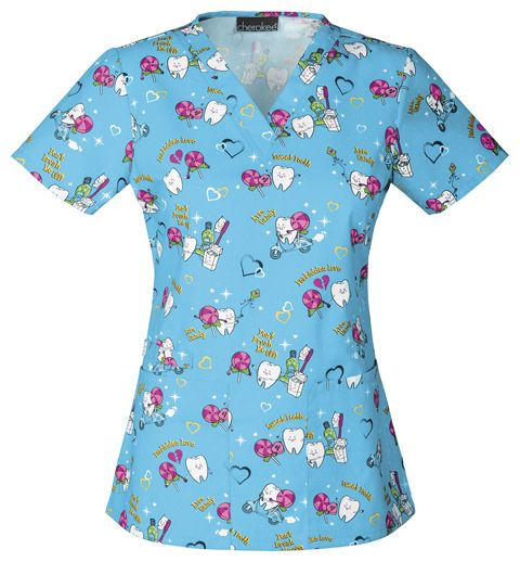"""This Cherokee scrub top shows the """"Forbidden Love"""" that dental professionals know all to well! Find it at The Uniform Outlet!"""
