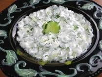 "Cucumber sour cream salad - ""mizeria""  from about.com Eastern European foods  listed as Polish, but this is a common Ukrainian dish as well"