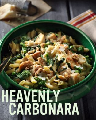 Creamy Bacon Carbonara Pasta with Chicken Rapini #recipe.