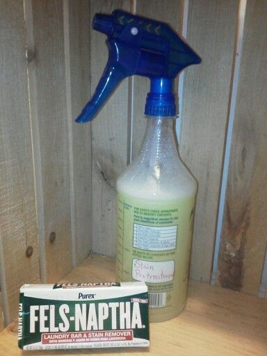 Fels Naptha as its usual laundry stain treatment but in spray form. EASY! 3 cups HOT water, add 2 TBSP of grated Fels, pour into bottle & VOILA, handy spray laundry stain pretreatment...also handy as carpet stain remover.