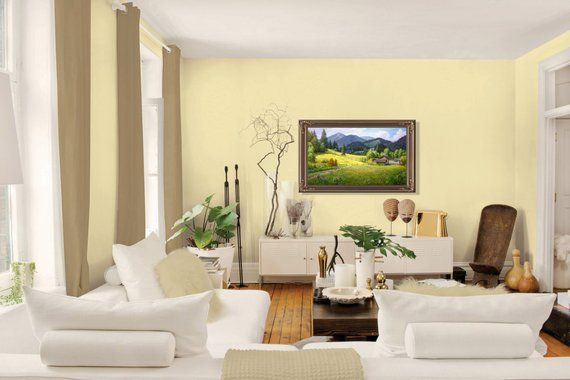 Summer Mountain Landscape Oil Painting Realism Oil Painting Etsy Interior Paint Colors For Living Room Summer Living Room Colors Living Room Color Schemes