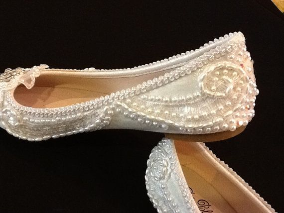 Wedding Shoes Bridal Flats Beaded Rhinestones by Elfinacreation