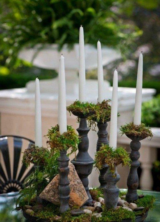 moss and candles wedding centerpiece / http://www.deerpearlflowers.com/moss-decor-ideas-for-a-nature-wedding/2/