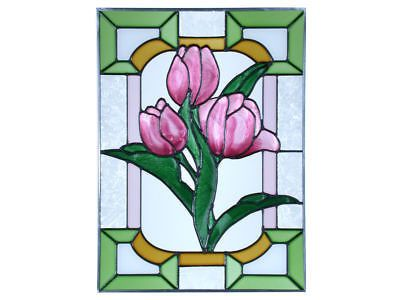 10x14 Stained Art Glass TULIPS Floral Suncatcher Panel