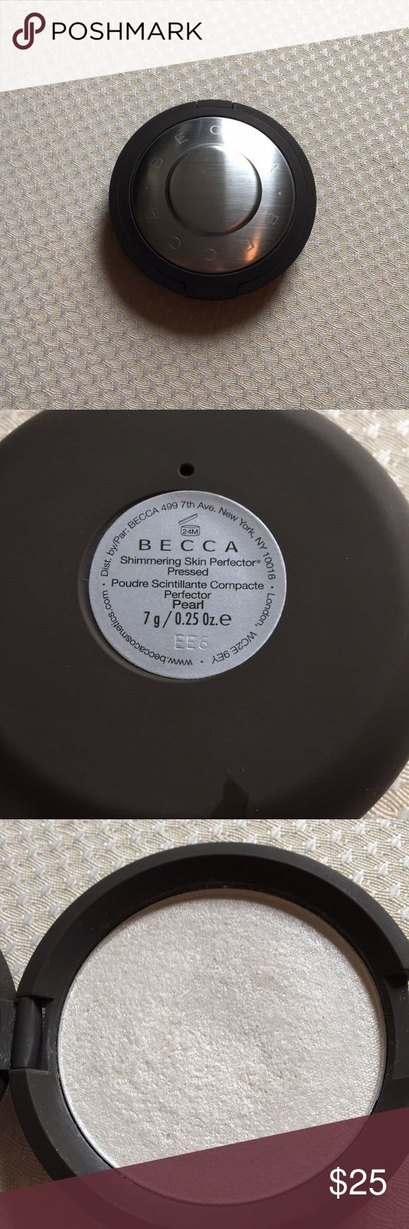 Becca Pearl Highlighter Becca shimmering skin perfector in the shade Pearl, pure white. Good condition. This is the powder not the cream version. Has been repressed but is still in excellent condition. BECCA Makeup Luminizer