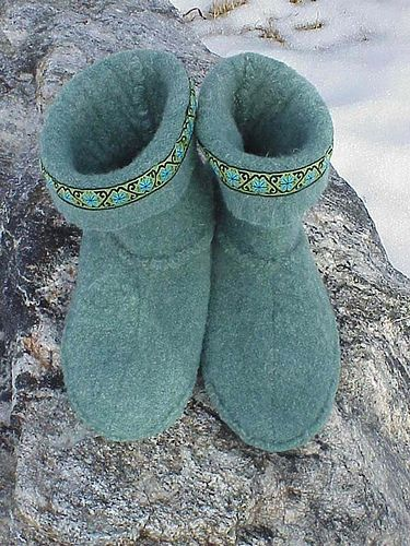 Pair of Felted Slipper boots that I made by cutting, sewing, felting, an old wool sweater.  I wrote the pattern myself!