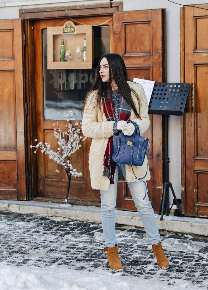For when it's too cold.  #zara #teddycoat #plaid #denim #fringe