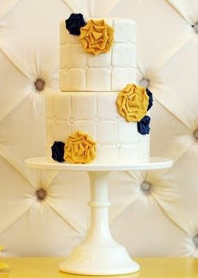 yellow and navy blue felt flowers, #wedding #cakes #showers