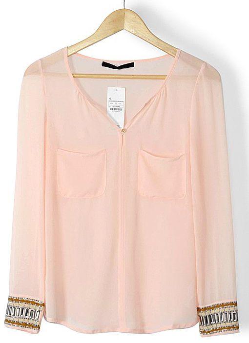 Pink Long Sleeve Rhinestone Pockets Blouse - Sheinside.com