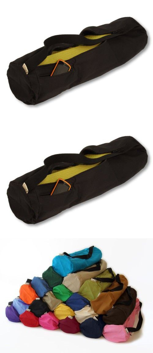 Bean Yoga Mat Bag Extra Large Easy Open Zipper 100% Cotton Made In USA - 27in L x 7in D By Bean Products Black