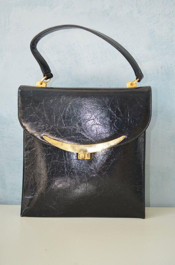 Vtg MARKS & SPENCER Jet Black Distressed Leather by cougarvintage, $65.00