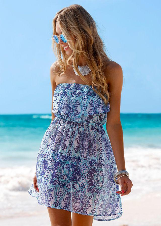 Sukienka plażowa z dekoltem bandeau • 74.99 zł • bonprix