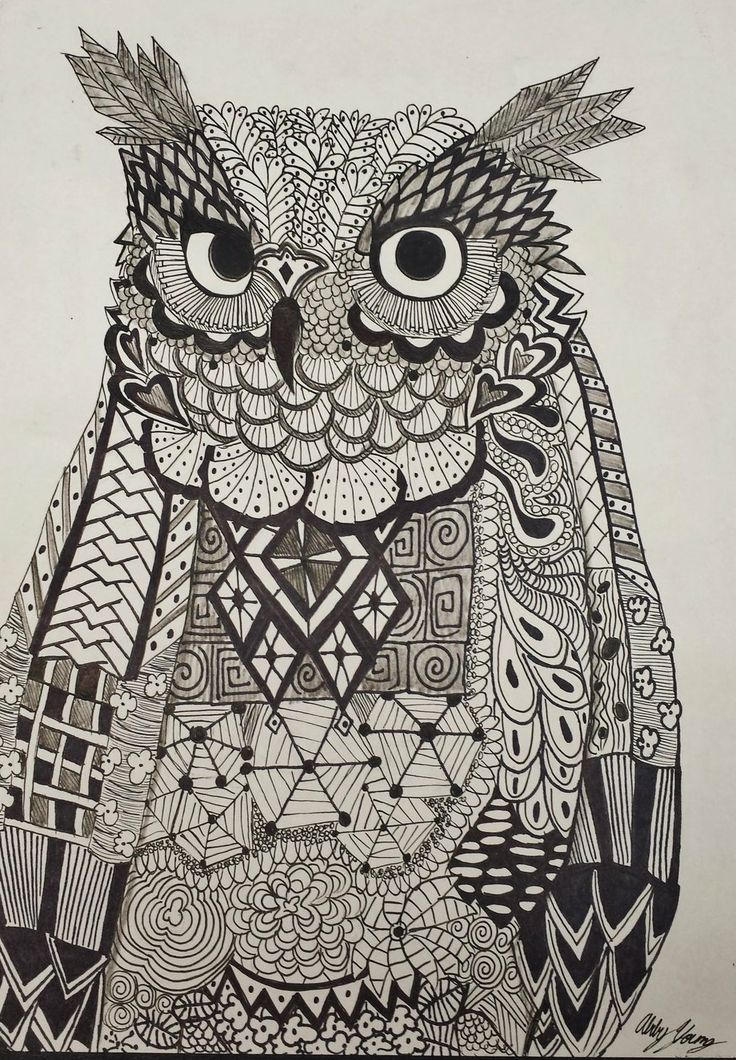 Zentangle Owl By Abby Young Owl Spirit Animal