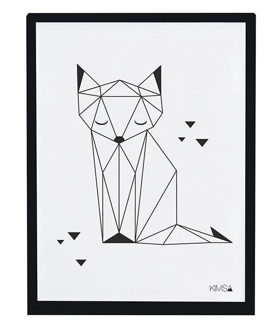 Affiche enfant renard noir et blanc: