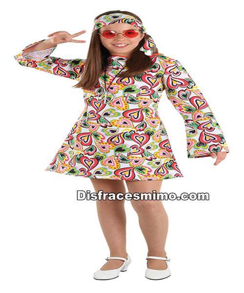 DisfracesMimo, disfraz de hippie años 70 para niñas infantiles 5 a 6  años.Serás