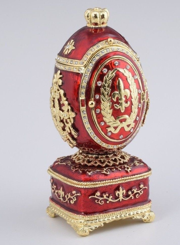 Red Royal Faberge Egg with music Trinket Box by Keren