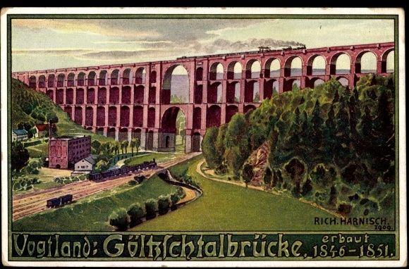Künstler Ansichtskarte / Postkarte Harnisch, Mylau,Göltzschtalbrücke,Eisenbahn | akpool.de