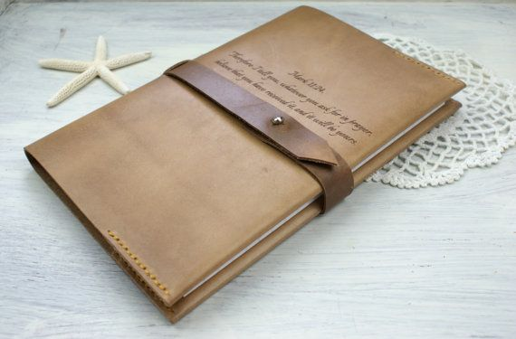 Personalized Leather Notebook cover Refillable Leather by araga