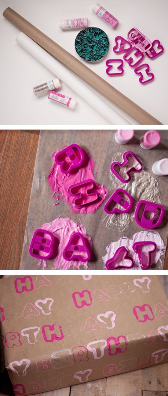 Wrapping Paper - Cookie Cutters http://www.thisheartofmineblog.com/  This is a neat idea you could use in a smash book. Use the cookie cutters as stamps!