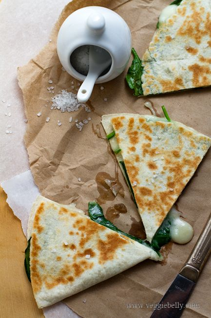 Like this and maybe with a bite out of it. - Spinach Quesadillas: would add mushrooms, when I'm pregnant sometimes it's hard to eat Mexican food or meat for me and I'd always order spinach and mushroom quasadillas in Mexican restaurants. They are my savior in those situations!