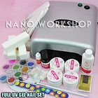 Full 36W UV Gel Nail Curing Dryer Light Lamp + Glitter Gel Nails Set #604