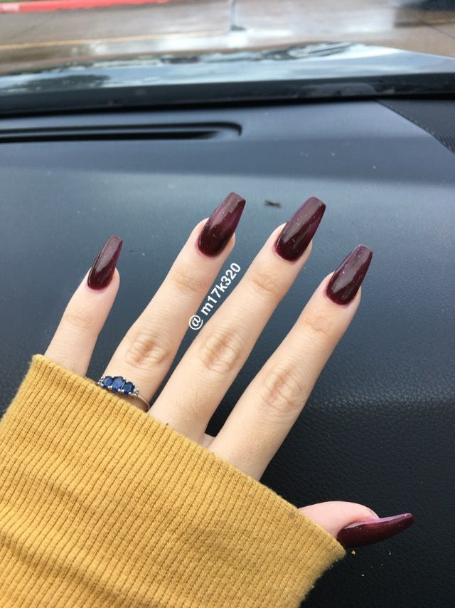 Sparkly Maroon Coffin Nails With Images Maroon Nails Perfect Nails Nail Colors