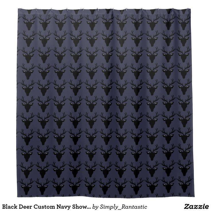Black Deer Custom Navy Shower Curtain