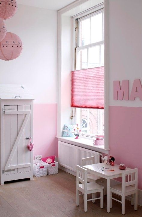 Half Paint Walls Idea For Girls Room White Furniture