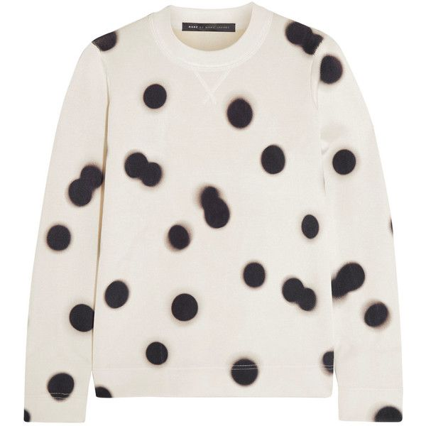 Marc by Marc Jacobs Blurred Dot knitted sweatshirt ($110) ❤ liked on Polyvore featuring tops, hoodies, sweatshirts, cream, marc by marc jacobs top, polka dot sweatshirt, polka dot top, marc by marc jacobs sweatshirt and marc by marc jacobs