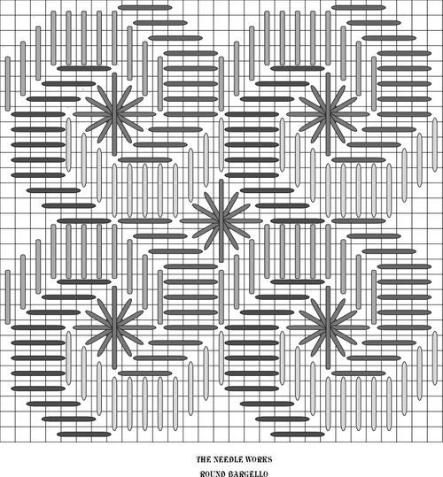Round Bargello stitch: If you have a large Santa, use this stitch for his beard. It could also be used for swirling snow. If you are going to use it for snow use Flair or Frosty Rays.