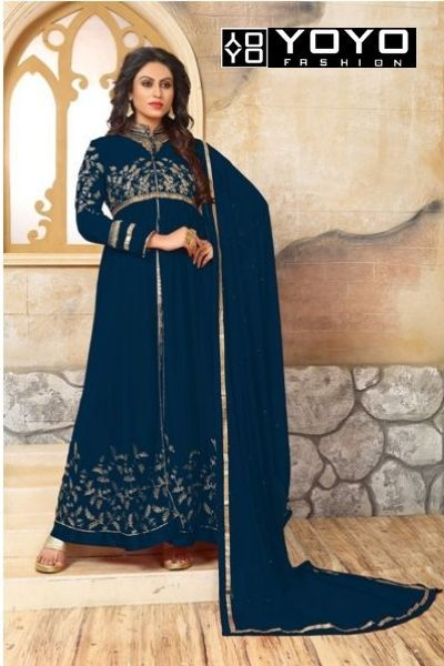 ba553d2190 Designer Latest Blue Faux Georgette Embroidred Salwar Suit at YOYO Fashion.  Call or Whatsapp for more info here: +91 8000588688 #Style #Fashion # SalwarSuit ...