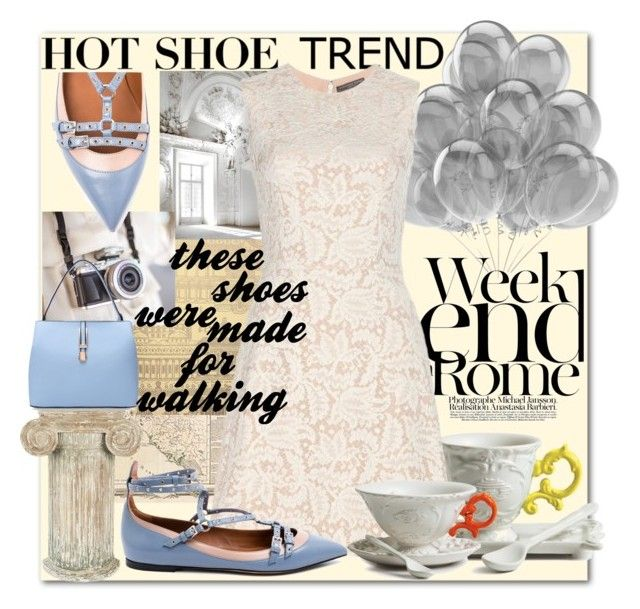 """""""Weekend in Rome"""" by alice-through-the-looking-glass ❤ liked on Polyvore featuring mode, Vintage Print Gallery, Zoffany, LARA, Aidan Gray, Seletti, Alexander McQueen et Valentino"""