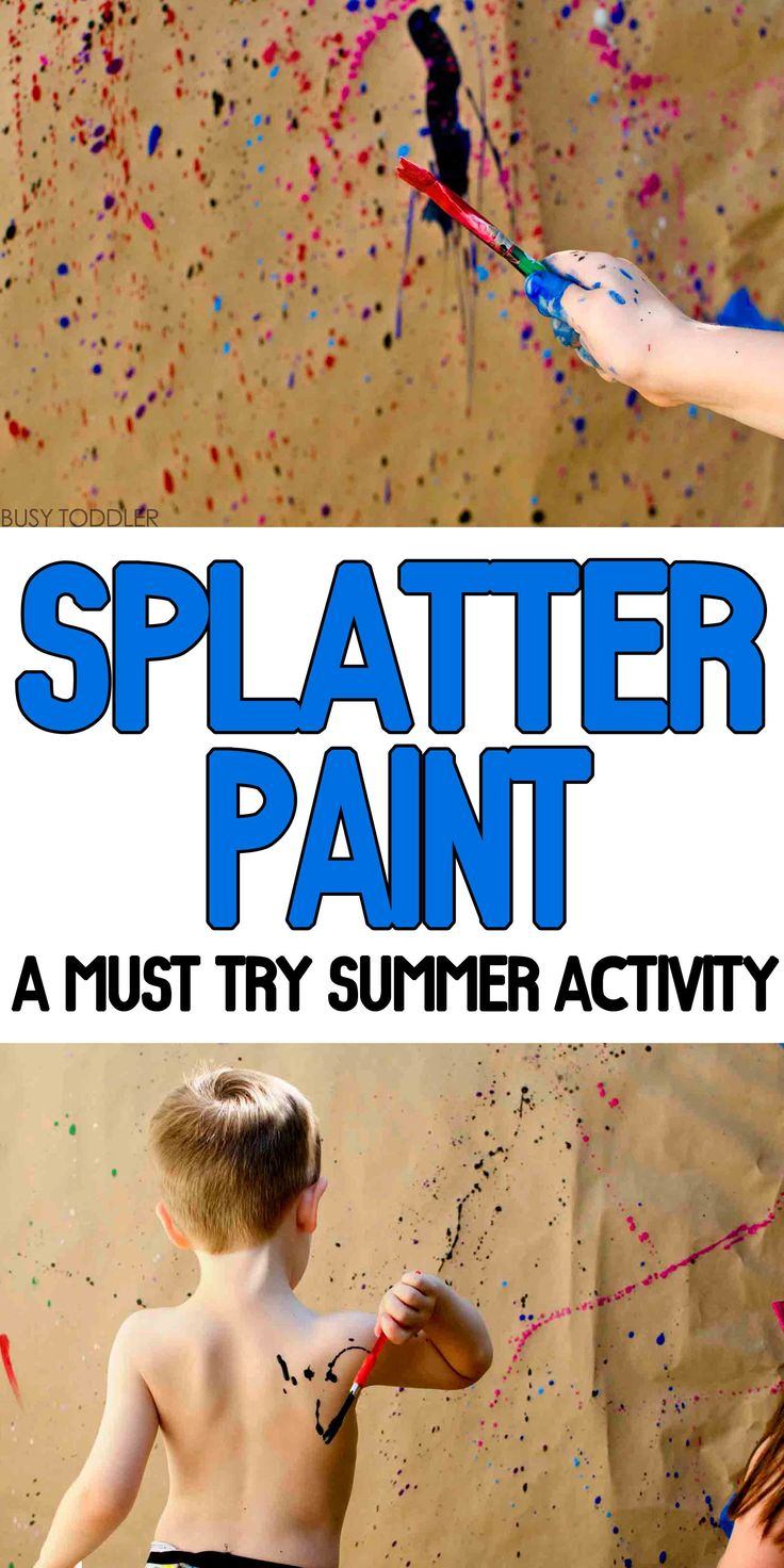 Splatter Paint Process Art: A must try outdoor activity that kids will love; easy art activity; messy art activity; process art activity for toddlers and preschoolers