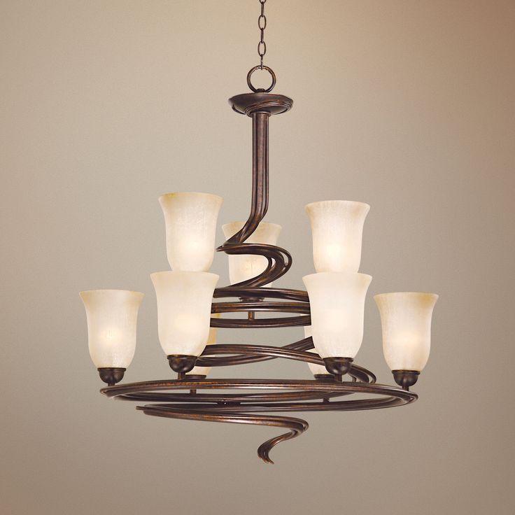 franklin iron works swirled bronze nine light chandelier eu53317 euro style lighting