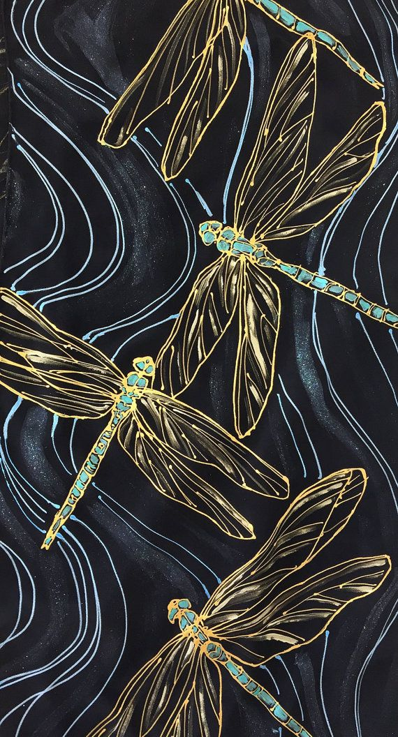 Black Silk Scarf Handpainted, ETSY, Dragonflies Black and Gold Scarf, Turquoise Blue and Gold Dragonfly Scarf, Takuyo, 14x72 inches.