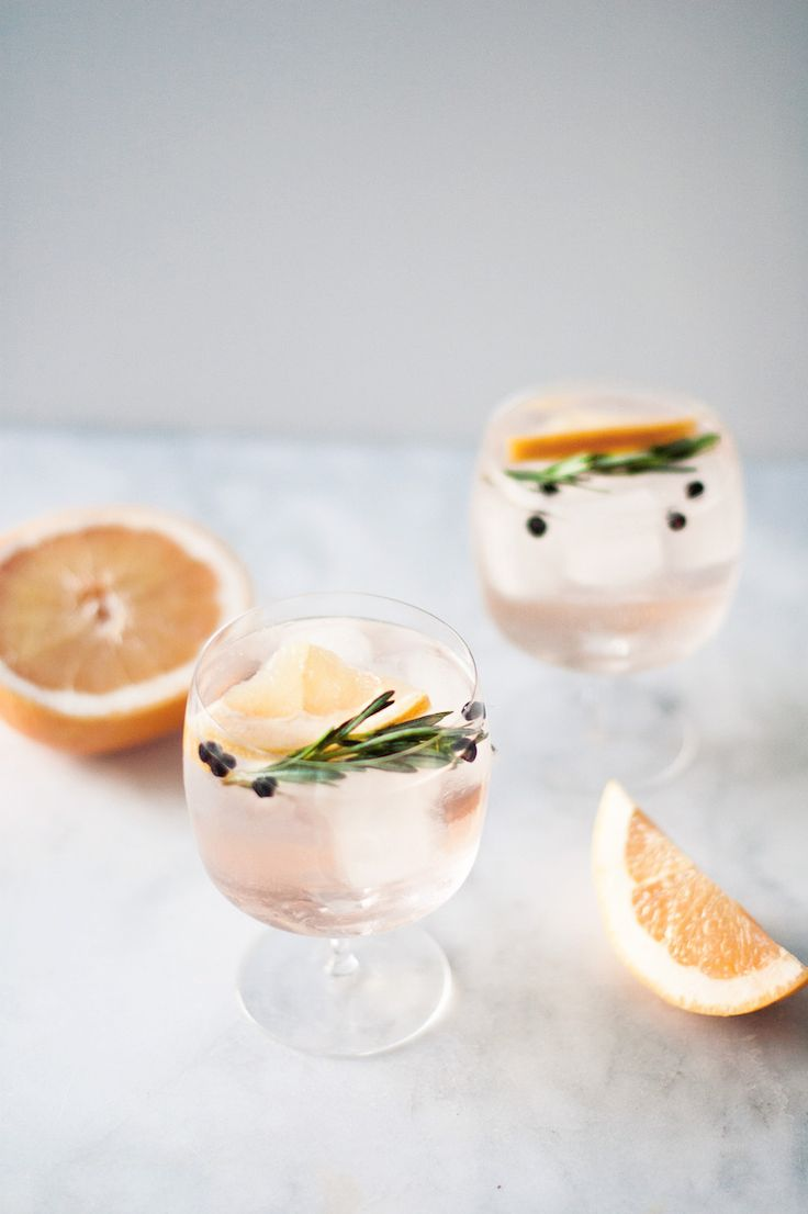 Elderflower Spanish Gin and Tonics // craftandcocktails.co (2 oz gin, 6 oz elderflower tonic (or sub st. germain and tonic), 2 grapefruit slices, rosemary sprig)