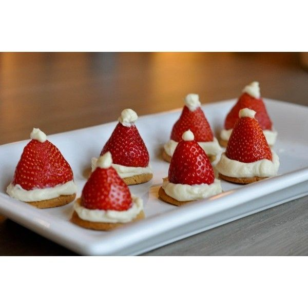 Strawberry Santa Hats ❤ liked on Polyvore featuring christmas, food, pictures, pics and winter