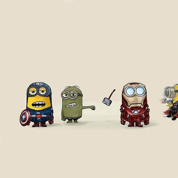 Minions: Matias would love this...two of his favorite things (minions and the avengers)