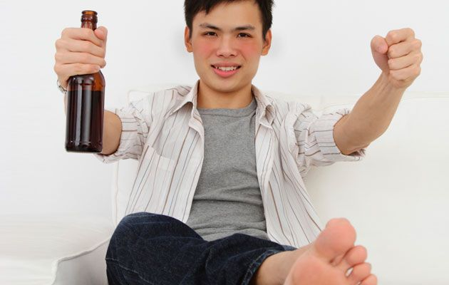 Turning red faced after drinking alcohol isn't a sign of good blood circulation…