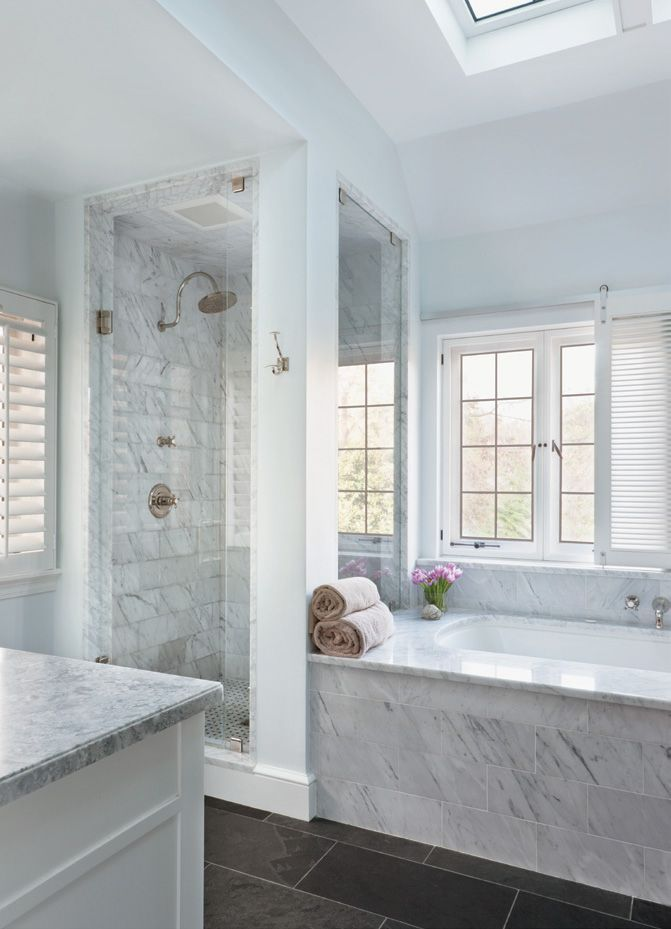 Carrara Marble Bath, Slate Floor, And Gliding Shutters For Privacy   Celia  Welch Design, Stephen Muse Architecture