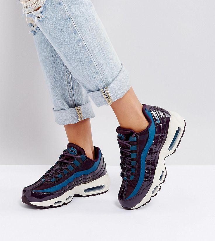 Get this Nike's basic sneakers now! Click for more details. Worldwide  shipping. Nike Beautiful X Air Max 95 Patent Trainers - Black: Air Max 95  trainers by ...