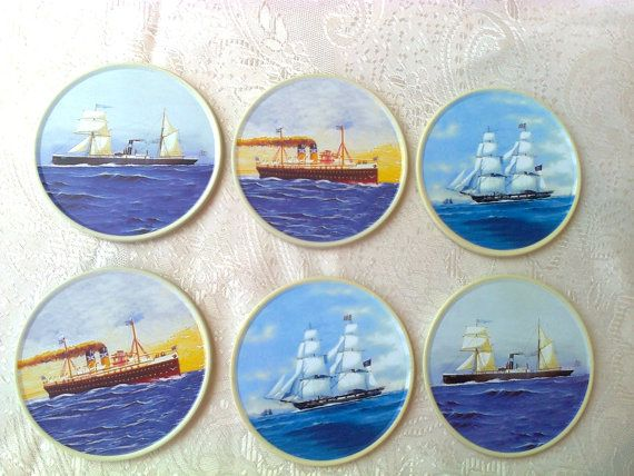 Coasters for glasses cups mugs / 6 vintage coasters by Lionsoul, €15.00