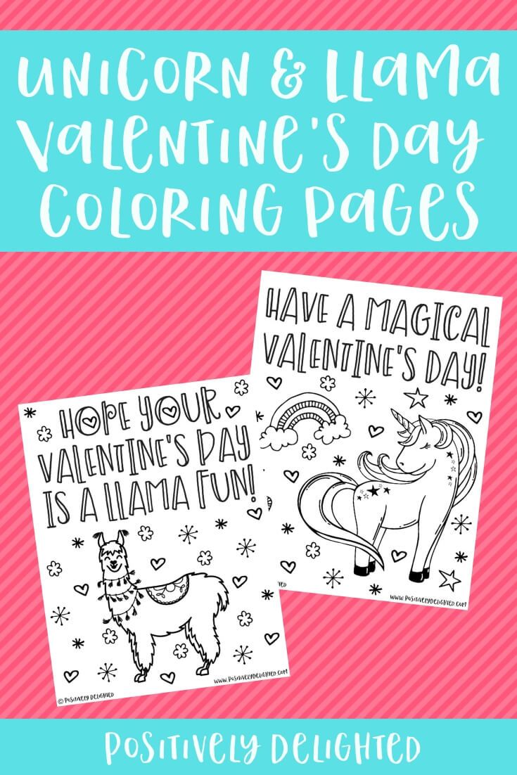 Unicorn And Llama Valentine Coloring Pages Unicorn Coloring