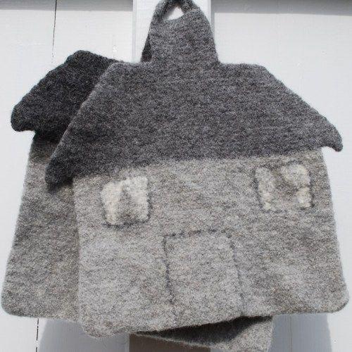 Crochet potholder, felted