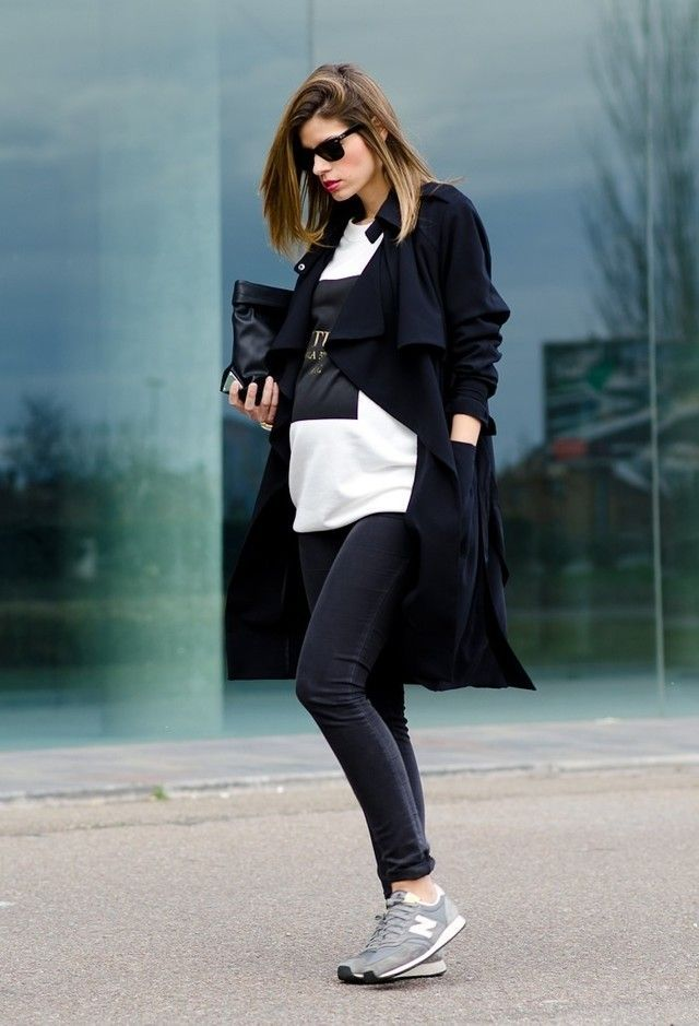 new balance, long black coat, maternity.