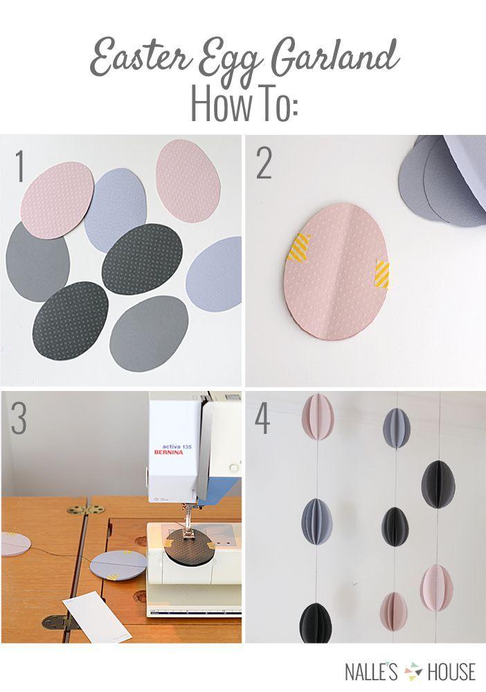 Enkle påskeæg af farvet papir - brug eksempelvis farveprøver og match farverne i din indretning.