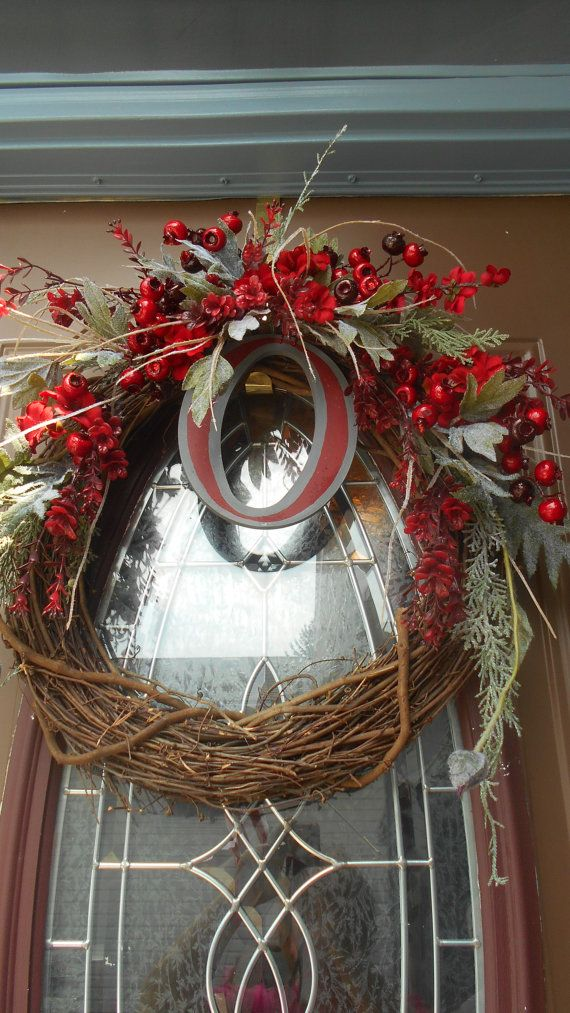 Ohio State wreath decorated with scarlet and by TheFickleFlower