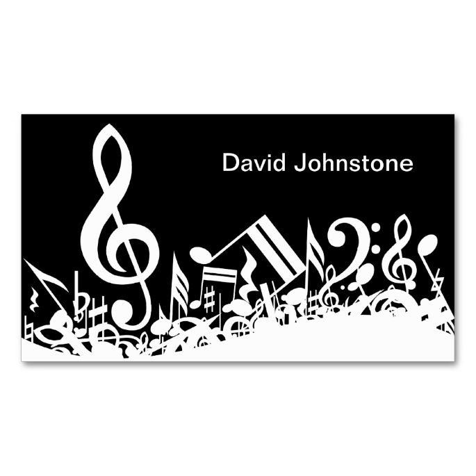 Personalized White Jumbled Musical Notes on Black Double-Sided Standard Business Cards (Pack Of 100). Make your own business card with this great design. All you need is to add your info to this template. Click the image to try it out!